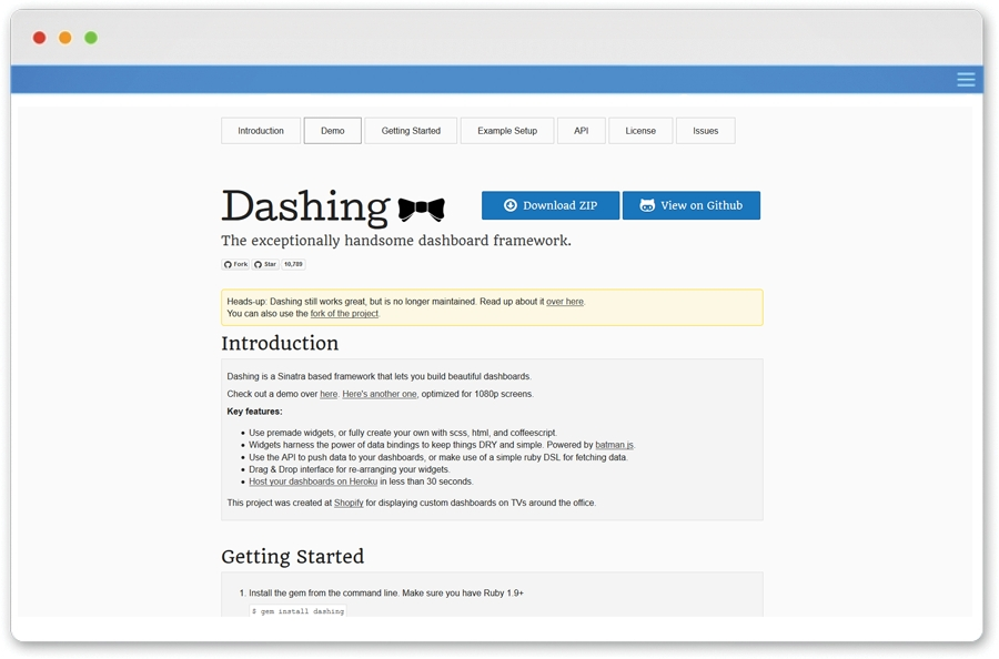 Dashing framework